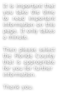 It is important that you take the time to read important information on this page. It only takes a minute.
